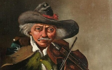 An English School Portrait of a Man Playing a Fiddle