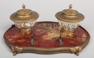 An early 20th century French gilt bronze and lacquer encrier...
