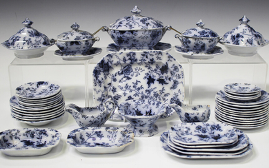 An extensive toy china part service, probably Minton, mid-19th century, printed in flow blue with tr