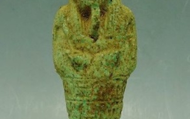 Ancient Egyptian Faience Ushabti With Hieroglyphs To Body - 120mm height - (1)