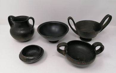 Ancient Greek, Hellenistic Ceramic Lot of Cups, Nestoris and Vase with handles - (5)