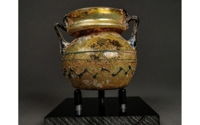 Ancient Roman Glass Decorated Amphora possibly used in antiquity for medicinal herbs.
