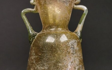 Ancient Roman Glass Flask with Twin Handles