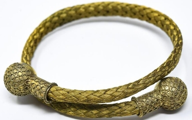 Antique 19th C Woven Gold Filled Bypass Bracelet
