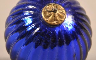 Antique German Cobalt Glass Ribbed Ball Form Kugel.