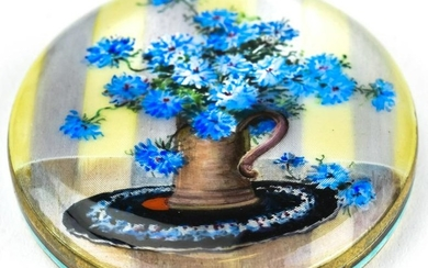 Antique Hand Painted Enamel & Sterling Compact