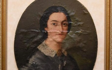 Antique Painting -oval Portrait illegibly signed, very