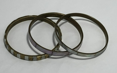 BRASS W/ MOTHER OF PEARL INLAY BANGLE BRACELETS X3