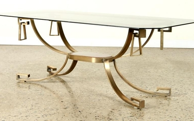 BRONZE MAHOGANY COFFEE TABLE SMOKED GLASS C.1965