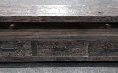 Black Washed Timber Industrial Entertainment Unit with Three Drawers (H:64 x W:180 x D:45cm)
