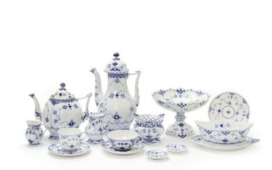 """""""Blue Fluted Full Lace"""" coffee and tea service decorated in blue. Royal Copenhagen. (61) –..."""