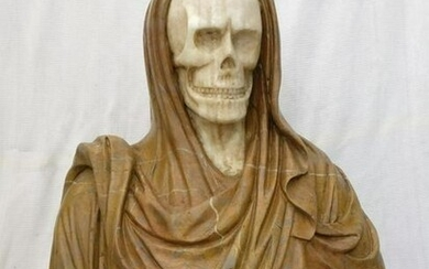 Bust in polychrome marble - Memento Mori - H 74 cm