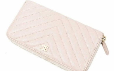 CHANEL 'L-GUSSET' PINK QUILTED LEATHER WALLET