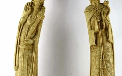 """CHINESE 24""""FINE PAIR FAUX CARVED FIGURAL SCULPTURE"""