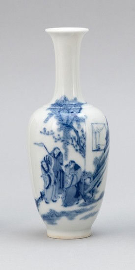 CHINESE BLUE AND WHITE PORCELAIN VASE In baluster form, with decoration of sages in a landscape. Six-character Kangxi mark on base....