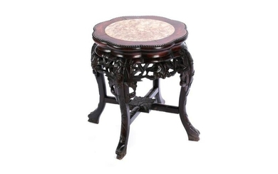 CHINESE HARDWOOD PEDESTAL WITH MARBLE INSERT