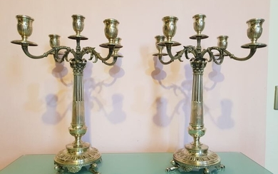 Candelabrum (2) - .800 silver - Italy - First half 20th century