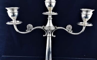 Candlestick, Large silver richly ornate candlestick - .800 silver - Italy - Early 20th century