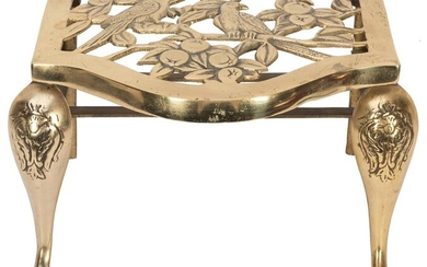 Cast Brass Plant Stand with Birds and Berries. Footed