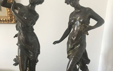 Charles Levy (1820-1899) - Sculpture, two young women - 46 cm (2) - Bronze, Onyx - Second half 19th century