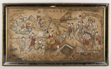 Chinese Art. Ma Gu Xian Shou Tu (Magu offers longevity) Signed Sheng Yanghou China, Qing dynasty,18th century Ink and colours on paper . Provenance: Venetian private collection, Italy. Cm 103,00 x 56,00.