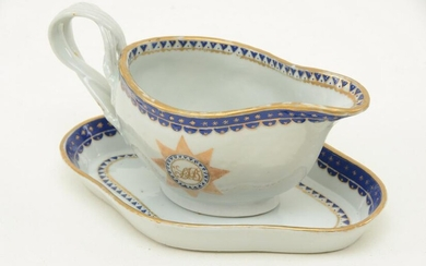 Chinese Export porcelain sauce pitcher and undertray