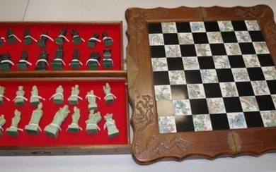 Chinese carved wood chess board & pieces wood case, opening ...