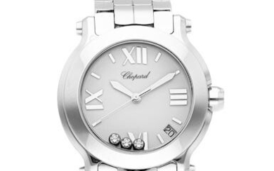 Chopard | Happy Sport, A Stainless Steel Bracelet Watch with Wandering Diamonds and Date, Circa 2019