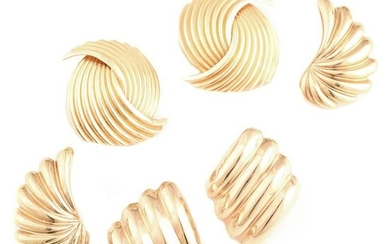Collection of Three Pairs of 14k Yellow Gold Earrings.