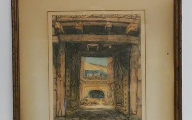 Color Etching:Courtyard W/ Figures,Tented Dwelling