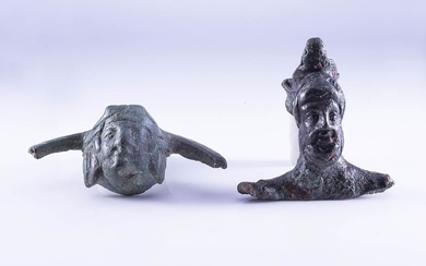 Couple of Roman bronze handle attachments, c. 1st century...