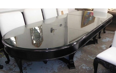 DINING TABLE, ebonised, extendable with two leaves, 332cm x ...