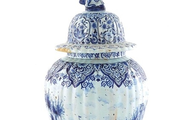 Delft pictorial covered urn