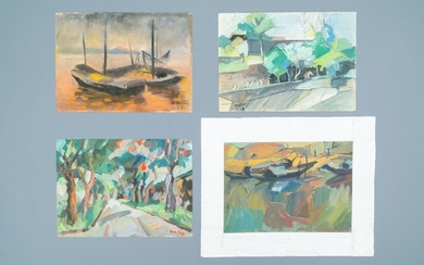Doan Hong (Vietnam, 1960), oil and gouache on paper, dated 1978: 'Four views'