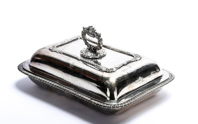 ENGLISH STERLING SILVER ARMORIAL VEGETABLE DISH