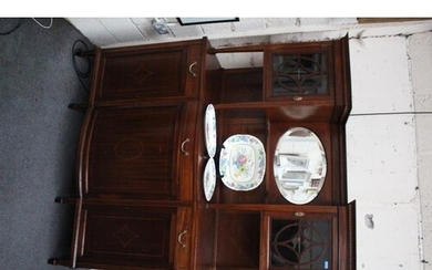 Edwardian Inlaid Mahogany Side Cabinet with a Mirrored Super...