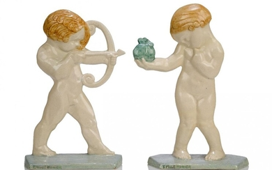 Emile Adolphe Monier (1883-1970), a pair of earthenware figures of...