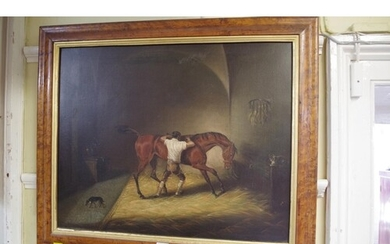 English School, 19th century, horse and groom in stable, uns...