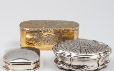 English Silver-Gilt Snuff Box and a French Silver Snuff
