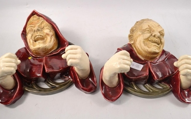 Exceptional quality! Pair of MONK form porcelain wall plaque...