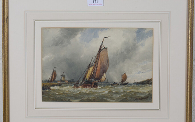 F.J. Aldridge - Boats in Coastal Waters, watercolour, signed, 18cm x 26cm, within a gilt frame, toge