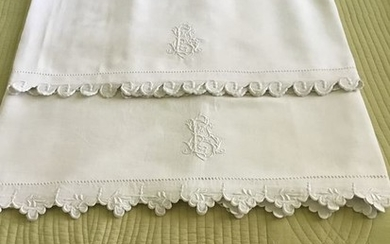 FRENCH VICTORIAN LINEN SHEETS (2) - Linen - Late 19th century