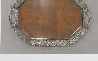 Fine Fancy Border Silver Plate Serving Tray Wood Center