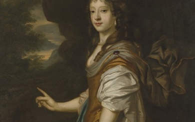 Follower of Sir Peter Lely, Portrait of a lady, three-quarter-length, in a golden dress and blue wrap, a landscape beyond