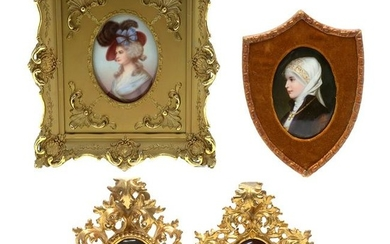 Four Framed Portraits on Porcelain of Young Women.
