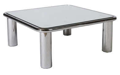 Frattini, Gianfranco Padua 1926 - 2004 Milan, was an Italian architect and designer. Coffee table ''Sesann'', E: 1968, A: Cassina, completely chromed, four massive round legs, surrounding steel tube with round corners, massive mirror glass as top...