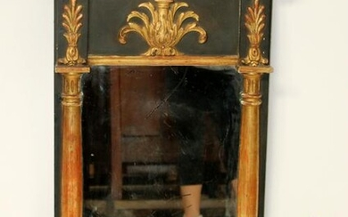 French Empire painted and gold leaf mirror