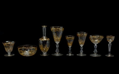 French Gilt Cut Crystal Partial Table Service.