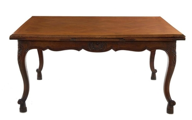 French Provincial fruitwood draw-leaf table