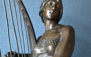 """Georges Charles Coudray (1862 - 1932) - Impressive Statue - """"Tahoser"""" - Egyptian harpist"""